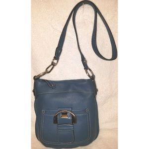 Blue leather crossbody handbag
